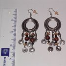 TRIBAL DANGLE EARRINGS with wooden beads and faux coins