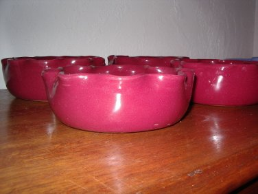 Bybee Pottery Set of Four Cereal/Soup/Salad Bowls Pie Crust Fluted Edge Kentucky