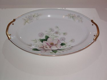 Grace China ROCHELLE Oval Serving Platter 12-1/4 in Pink Flowers Gold Blue trim