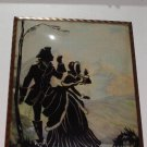 SILHOUETTE Reverse Painted COUPLE YODELING Wall Art Picture Vintage ANTIQUE