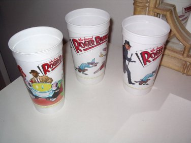 ROGER RABBIT CUP SET/ 3 ROGER, JESSICA AND GANG MCDONALDS PLASTIC 1988