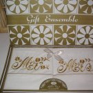 Vintage Artlin Pillow Case Ensemble Golden Embroidered Mr. & Mrs. New in Box