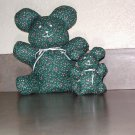 STUFFED ANIMALS HANDCRAFTED Green with Pink Blue Flowers Looking for Good Home