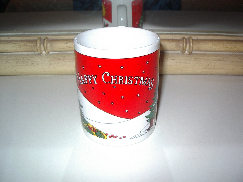HAPPY CHRISTMAS mug 12 oz Vintage