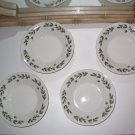 SET of 4 Salad Plates Holly Decoration and gold trim