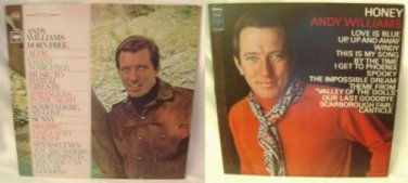 ANDY WILLIAMS Two 33 RPM LP records BORN FREE and HONEY albums