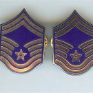 US Air Force USAF Senior Master Sergeant Chevron Metal Rank Insignia Pair