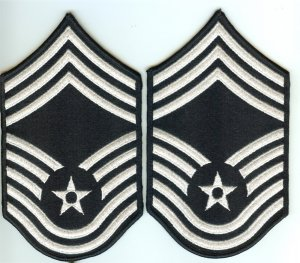 US Air Force USAF Chief Master Sergeant Color Embroidered Rank Patch Chevron Pair