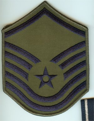 US Air Force USAF Master Sergeant Subdued Embroidered Rank Patch Chevron Single