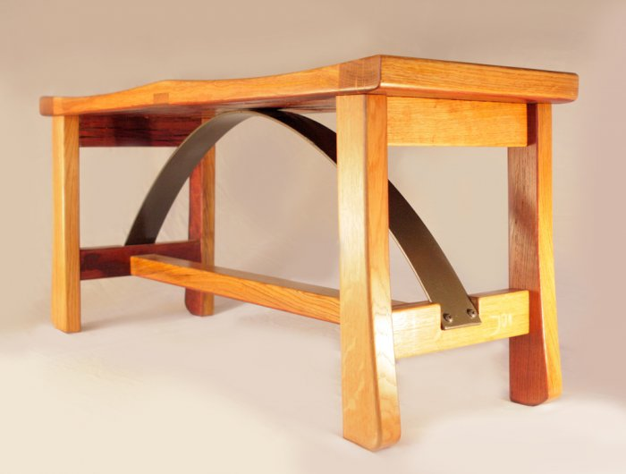 Ponte Vecchio, solid white oak large bench, recycled wood from wine fermentation oak barrels