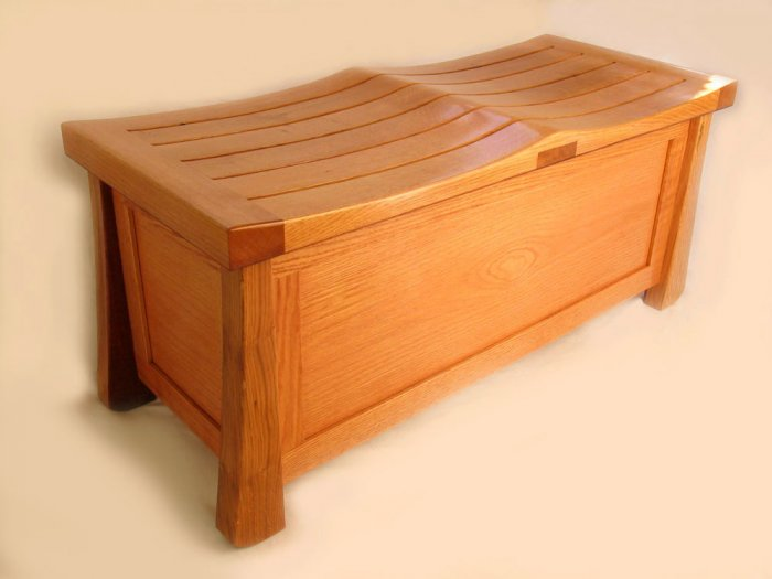 Venice Chest, solid oak trunk large bench recycled wood from wine fermentation barrels