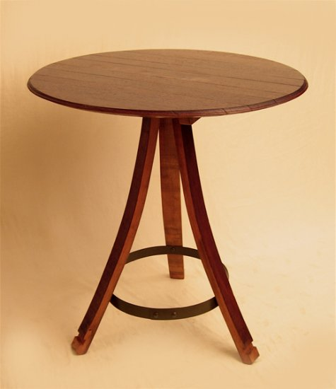 The Bistro round table, RECYCLED solid French white oak wine barrel