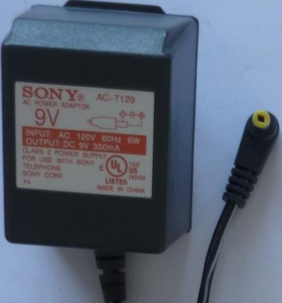 Like new SONY AC-T129 AC ADAPTER 9V 350mA CLASS 2 POWER SUPPLY FOR TELEPHONE delivered $12.00