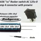 Brand New Rocker switch JA36, Rubycon Capacitor, power diode packages, delivered $8.00 each