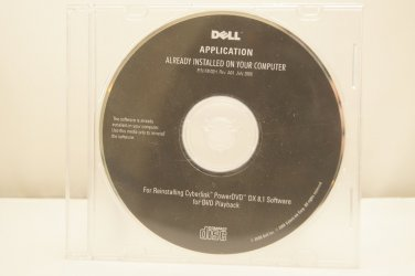 Brand New DELL REINSTALL DISK FOR CYBERLINK POWERDVD DX 8.1 SOFTWARE Delivered $4.00