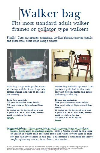 Sewing Pattern to Create a Walker Bag, Tote, Caddy, or Carry All for Adults or Children