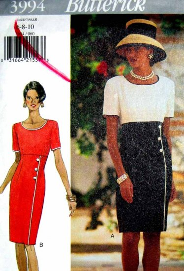 B3994 New Sewing Pattern Miss Classic Asymmetrical Color Block Dress Size 6 8 10 Career Drama