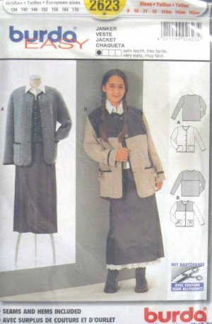 Burda 2623 New Sewing Pattern Child Girl Kid Yoked Cardigan Jacket Size 9 10 11 12 13 14 15