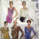 M3397 New Sewing Pattern Misses' Knit Fabric Top Blouse Draped Collar Bias size XS S M