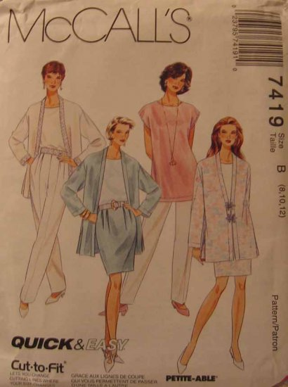 M7419 New Sewing Pattern Misses' Casual Cardigan Tunic Top Pant Skirt Size 8 10 12