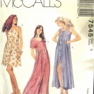 M7545 New Sewing Pattern Misses' or Juniors' Long Flowing Tucked Front Dress or Jumper size 6