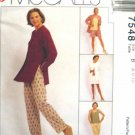 M7548 New Sewing Pattern Misses' Casual Wardrobe Jacket Tank Skirt Pant Short Size 8 10 12