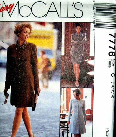 M7776 New Sewing Pattern Misses' Tailored Dress, Jacket, Skirt Size 10 12 14