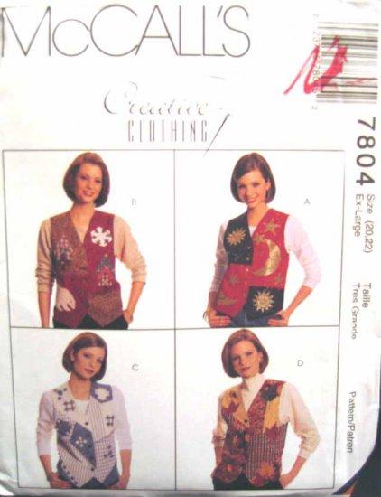 M7804 New Sewing Pattern Misses' Creative Quilt Applique Vest Craft Patchwork Design Size 4 6