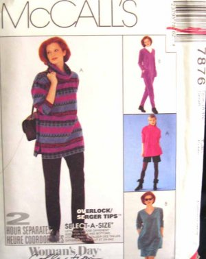 M7876 New Sewing Pattern Misses' Casual Knit Easy Serger Top Pant Skirt Short size 8 10