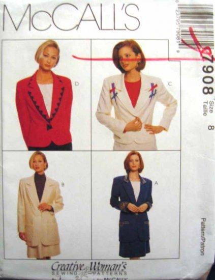 M7908 New Sewing Pattern Misses' Creative Blazer Jacket Skirt Suit Craft size 8