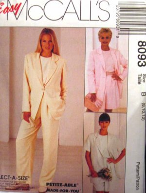 M8093 New Sewing Pattern Misses' Casual Wardrobe Jacket Top Pant Short Size 8 10 12