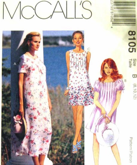 M8105 New Sewing Pattern Misses' or Juniors' Tuck Top Dress short long Size 8 10 12