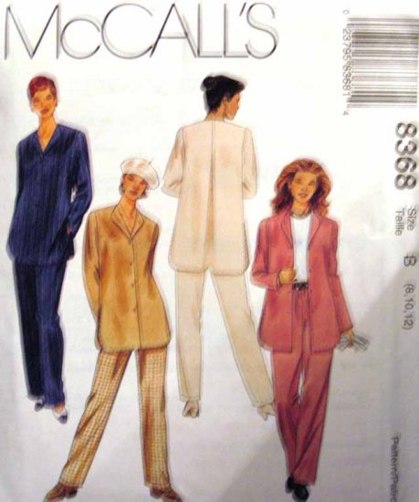 M8368 New Sewing Pattern Misses' Top Pant Swing Style Back Pleat Tunic Jacket Size 8 10 12