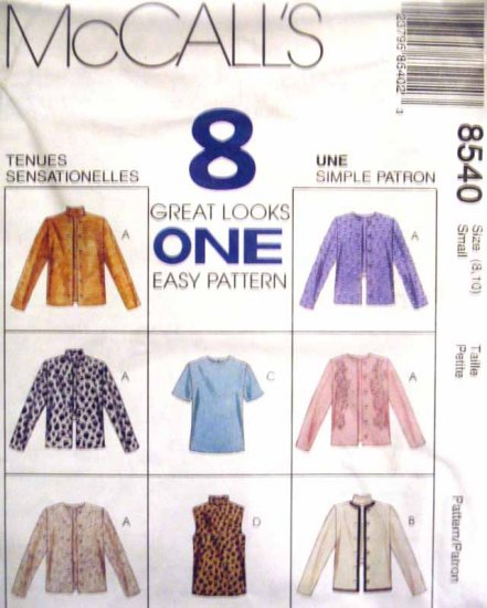 M8540 New Sewing Pattern Misses' Cardigan Jacket Mock Turtleneck Top Twin Set Size 8 10