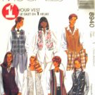 M8940 New Sewing Pattern Misses' One Hour Fast Easy Vest Variations Lengths Hems Size XS S M