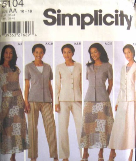 S5104 New Sewing Pattern Misses' Career Wardrobe Top Jacket Pant Skirt Size 10 12 14 16 18