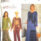 S8246 New Sewing Pattern Misses' Pieced Artistic Casual Top Skirt Pant Set size 6 8 10