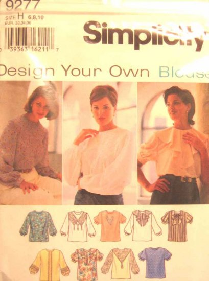 S9277 New Sewing Pattern Misses' Design Your Own Blouse Shirt Top Creative Craft Size 6 8 10