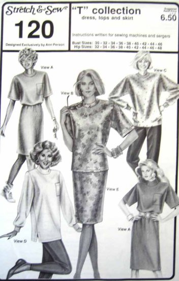 SS120 New Sewing Pattern Knits Dress Top Skirt Sweater Option Fleece 30 32 34 36 38 40 42 44 46