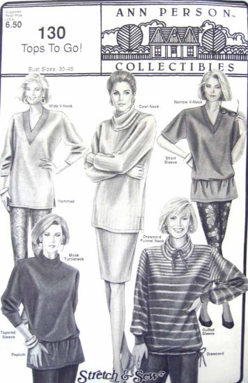 SS130 New Sewing Pattern Misses  Knit Top Sweater Collar Option Fleece 30 32 34 36 38 40 42 44 46