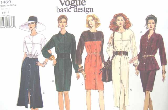 V1469 New Sewing Pattern Misses' Easy Vogue Yoked Dress Top Skirt Size 6 8 10