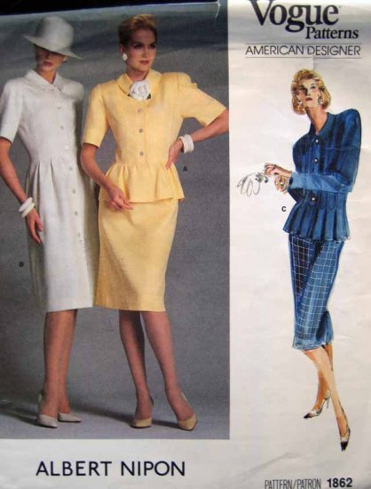 V1862 New Sewing Pattern Misses' Vogue Fitted Peplum Dress Jacket Size 8