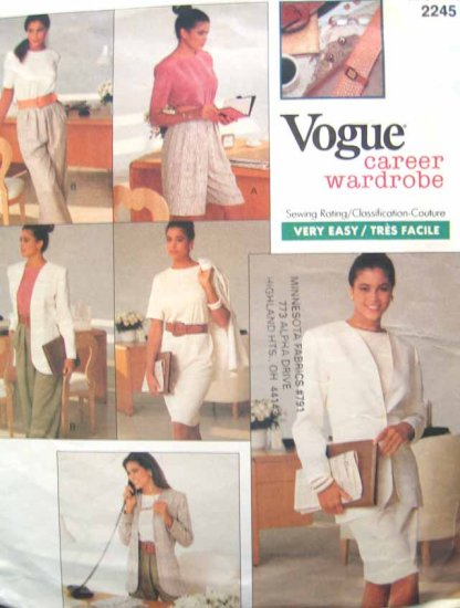 V2245 New Sewing Pattern Vogue Casual Career Wardrobe Jacket Pant Shorts Top Skirt Size 6 8 10