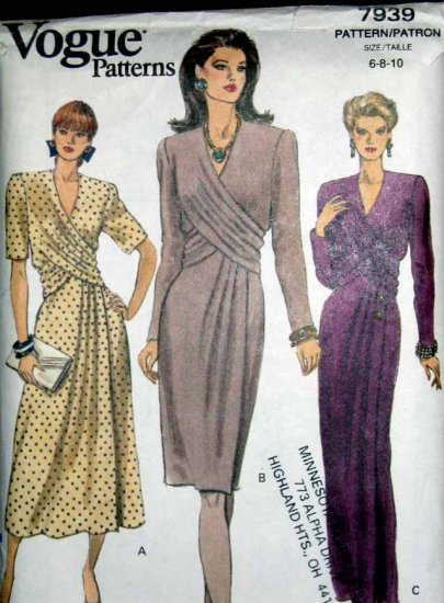 V7939 New Sewing Pattern Misses Wrap Front Dress Gown Elegant Sophisticated Vogue Size 6 8 10
