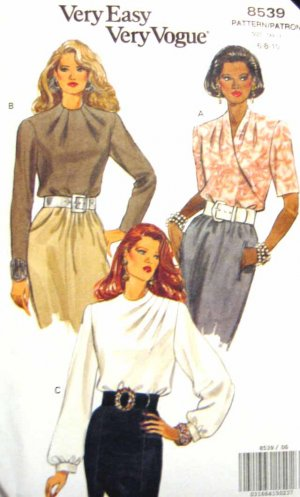 V8539 New Sewing Pattern Misses' Vogue Blouse Shirt Top Draped Tucked Funnel Neck Size 6 8 10