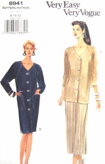 V8941 New Sewing Pattern Misses Vogue Dress Top Cardigan Dress Skirt Raglan Size 8 10 12