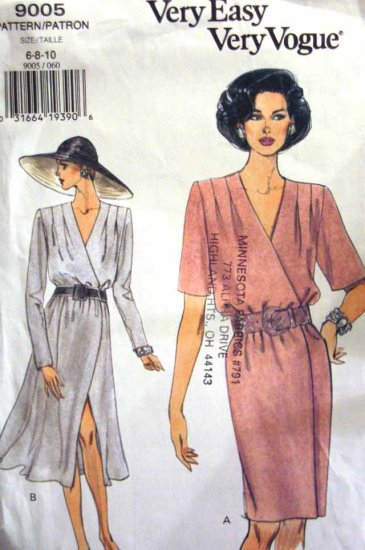 V9005 New Sewing Pattern Misses Vogue Wrap Dress Tucks Size 6 8 10