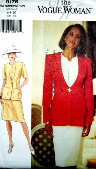 V9176 New Sewing Pattern Misses Vogue Suit Jacket Skirt Contrast Inset Size 6 8 10
