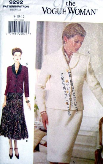 V9292 New Sewing Pattern Misses Vogue Suit Fitted Jacket Skirt Vary Size 8 10 12