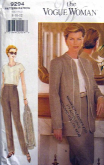 V9294 New Sewing Pattern Misses Vogue Contrast Seaming Jacket Skirt Pant Size 8 10 12